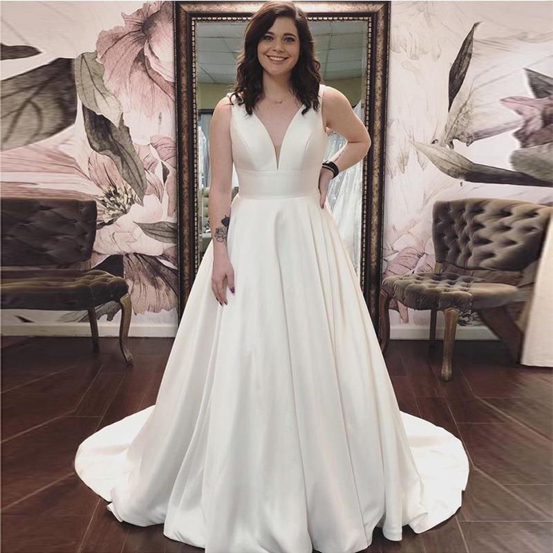 Sleeveless V-neck Simple A-line Wedding Dress Custom White Ivory Satin Chapel Train Vestido De Novia 2019 New Bridal Dresses