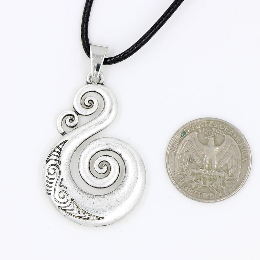 0046e1dc1f78c Pikorua Necklace Pendant Maori Twist Symbol Mask Manaia Koru Tribal ...