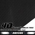 """Ограниченные продажи! 3 м x 50 см 118 """" x 20 """" 4D углеродного волокна виниловая пленка наклейка упаковка термоаппликации пузырь бесплатно черный для автомобилей грузовик внедорожник тела"""