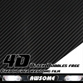 "Limited Sales!!! 3Mx50cm 118""x20"" 4D Carbon Fiber Vinyl Film Sticker Wrapping Decal Bubble Free Black For Car Truck SUV Body"
