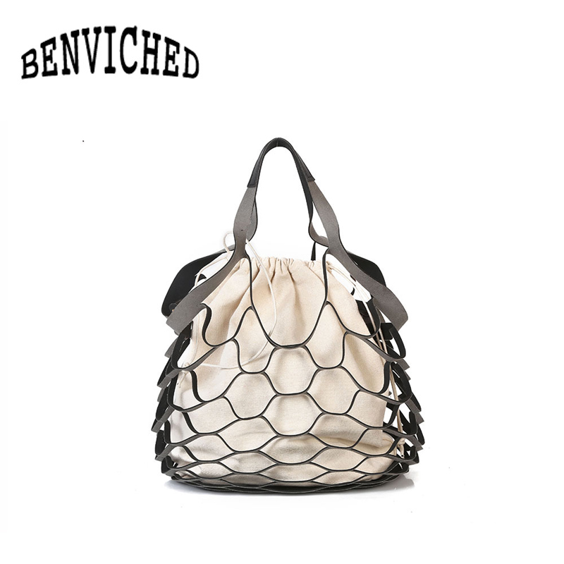 BENVICHED 2018 new fashion personality hollow bag beach net drawstring combination shoulder bag R507