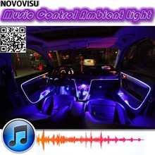 цены Ambient Rhythm Light For All Car Tuning Interior Music / Sound Light / DIY Car Atmosphere Refit Optic Fiber Band