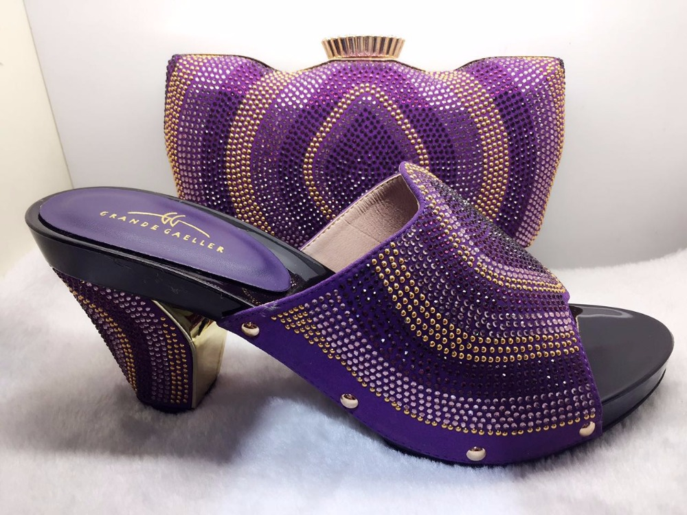 Free Shipping!Newest lady Italian matching shoe and bag set for wedding and party in wholesale TT17-55 Purple color size 38-42 high quality matching lady italian design shoe and bag set in wine color gf33 size38 43