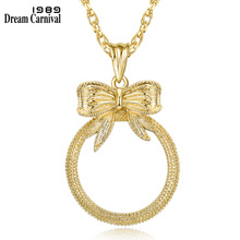 DreamCarnival 1989 Classic Fashion Gift Cute Bow shape Pendant Women Reading 2x Magnifying Glass Quality Necklace P-010