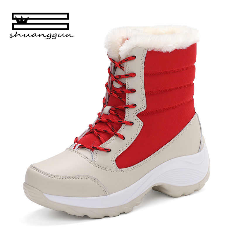 SHUANGGUN 2018 Snow Boots Women Winter Shoes Women Platform Boots Warm  Australian Boots Thick Bottom Fur 9cbd661c1665