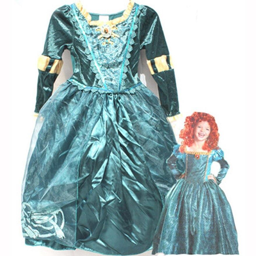 Children Brave Merida princess dress costume halloween party dress up costume 2 12 years old kid
