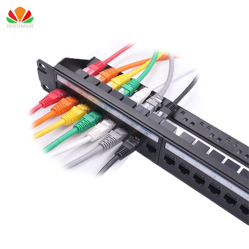 New 19in 1U Rack 24 Port Straight through CAT6A Patch Panel RJ45 Network Cable Adapter Keystone