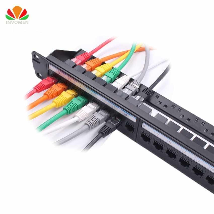 New 19in 1U Rack 24 Port Straight-through CAT6A Patch Panel RJ45 Network Cable Adapter Keystone Jack Ethernet Distribution Frame