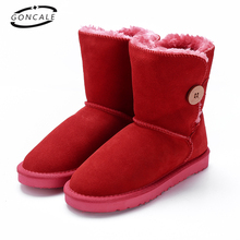GONCALE High Quality Band Snow Boots Women Fashion Genuine Leather women's winter Boot with Black Red Brown ug womens boots(China)