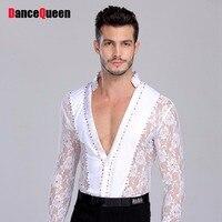 Men/Boy Performance Latin Dress Tops Diamond Lace Long Sleeve Dance Dress Ballroom Dance Competition Dresses Latin Tops Shirt