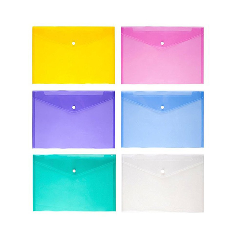 A4 Clear Document Bag Paper File Folder Stationery School Office Letter Envelope Folder Translucent Case PP 6 Candy Colors