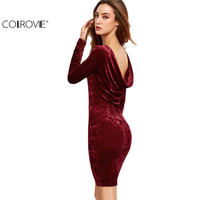 COLROVE Womens Dresses New Arrival 2016 Sexy Club Dresses Fitted Dresses Burgundy Draped Back Velvet Bodycon