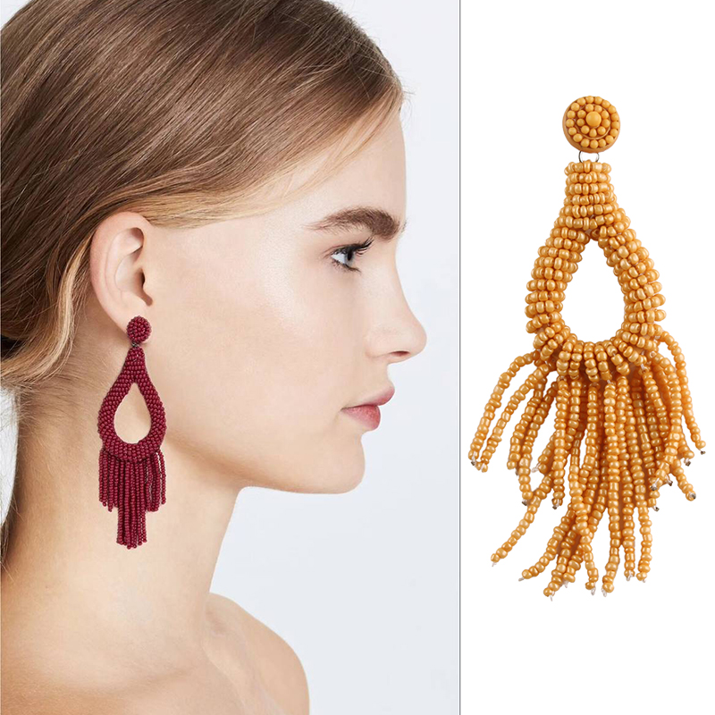 Vedawas New Boho Ethnic Style Beads Tassel Earrings Trend Careful Resin Earrings for Wom ...
