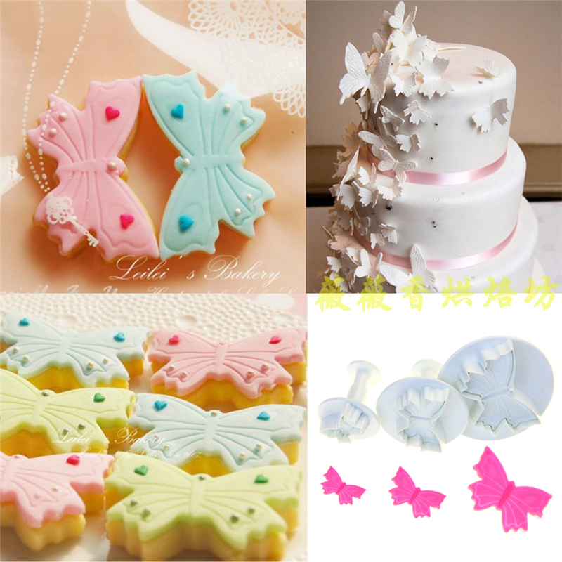 Butterfly Cherry Flower Animal Fondant Mold Cake Decorating Tools Kitchen Baking Utensil Biscuits Plunger Daisy Cookie