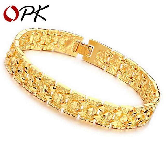 OPK Jewelry Luxury Gold Color Bracelet Brand New Design Width 11mm Infinity Bracelet & Bangle Fashion Gold Chain Bracelet, 160