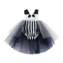 2018 Newborn Toddler Baby Girl Halloween Black Bodysuit Striped Tutu Skirt Jumpsuit Playsuit Cute Holiday Clothes 0-24M 45(China)