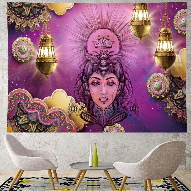 Image 2 - Morocco Psychedelic beauty Tapestry mandala Wall Hanging hippies indian Home Decor bohemian wall cloth Beach Mat GN.PAPAYA-in Tapestry from Home & Garden
