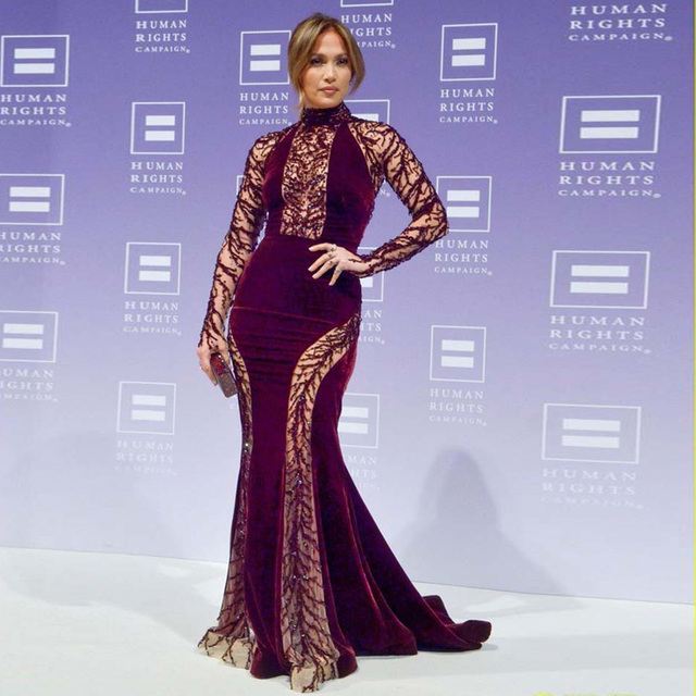 17th Annual High Necked Lace Long Sleeved Y Mermaid Velvet See Jennifer Lopez Dresses