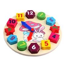 wooden kids digital geometry Clock educational toys building blocks toy
