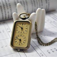 4005) 12 шт./лот Винтаж Стиль бронзовый Двухместный часы площади карманные часы Цепочки и ожерелья
