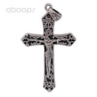 Vintage Solid Real 925 Sterling Silver Christian Jesus Christ Crucifix Cross Necklace Pendant For Men Free