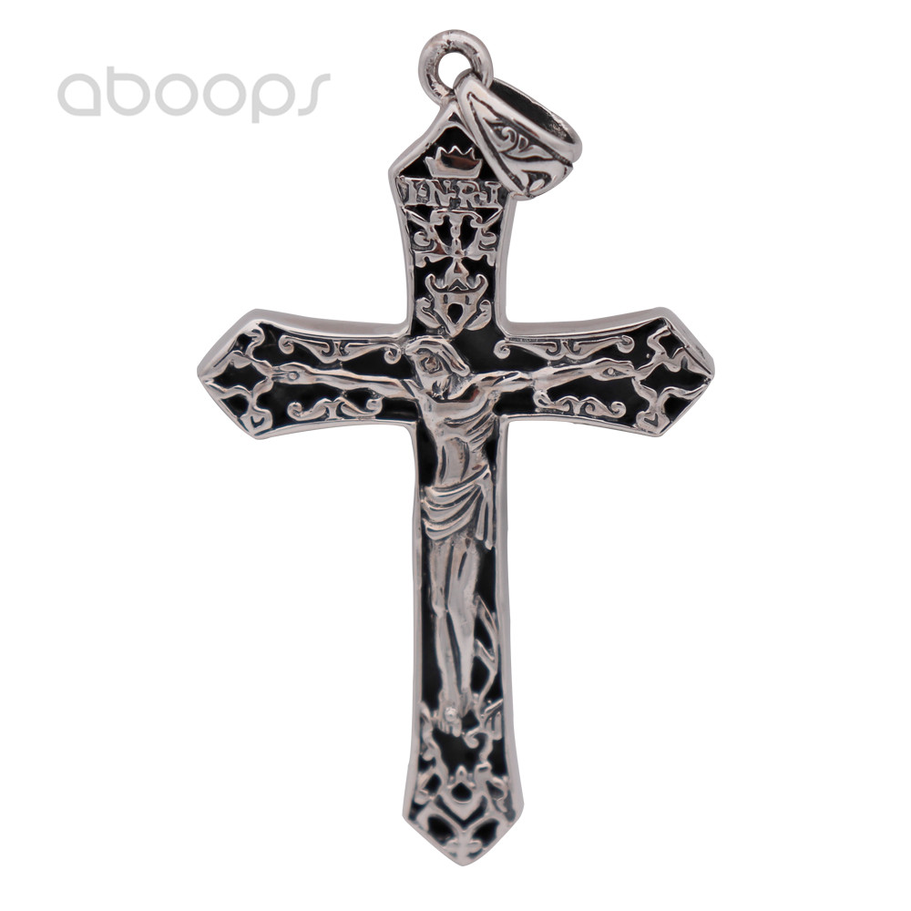 Vintage Solid Real 925 Sterling Silver Christian Jesus Christ Crucifix Cross Necklace Pendant for Men Free Shipping
