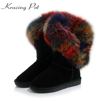 Krazing Pot Hot Sale Cow Suede Round Toe Low Heels Colorful Fox Fur Winter Snow Boots