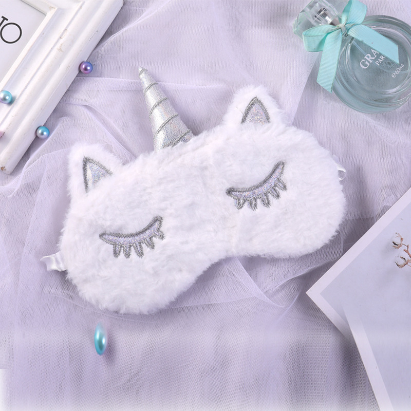 Silver Unicorn Sleep Eye Mask Shade Nap Cover Blindfold Face Ice Cream Shading Sleep Cotton Goggles Aid Relax Travel Eyepatch