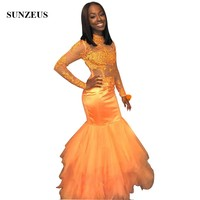 Appliques Sheer Orange Prom Dresses 2019 Mermaid High Neck Long Party Dress Prom2k19 African Girls Formal Gowns Dance Robe