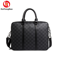 2019 New Briefcase Men's Handbags Tide Business Old Chess Board Black Plaid Computer Bag Men's Bag Leather Handbags