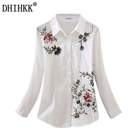 DHIHKK Floral Embroidered Blouse Shirt Women Slim White Tops Long Sleeve Blouses Woman Office Shirts Size