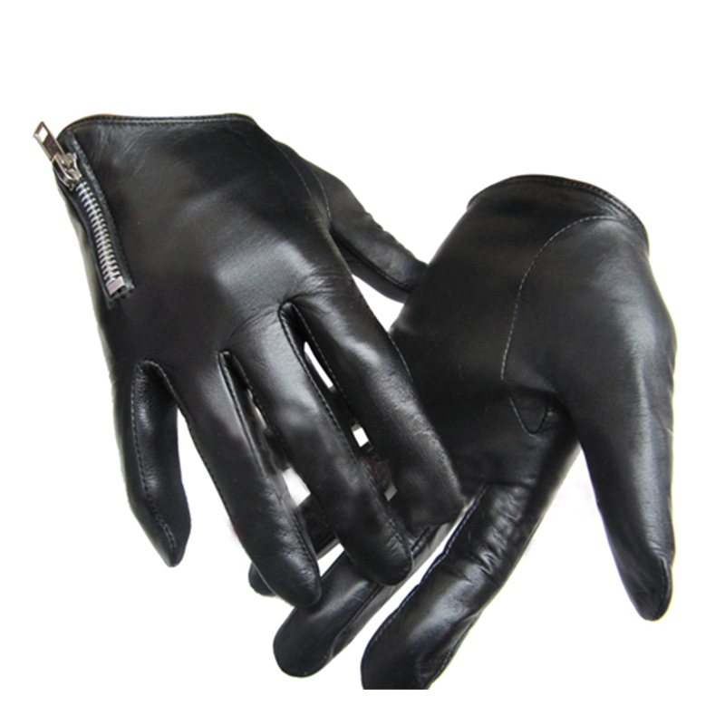 Men's Leather Gloves Fashion Classic Short Side Zipper Fit Tight Style Real Italy Unisex  Women Touch Screen Gloves