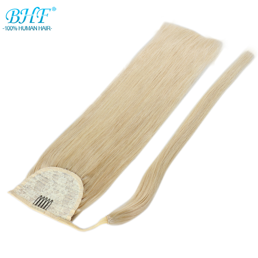 Bhf Human Hair Ponytail Straight European Remy Ponytail Wrap Around Horsetail Wig 100g Tails Hair Pieces Ponytails