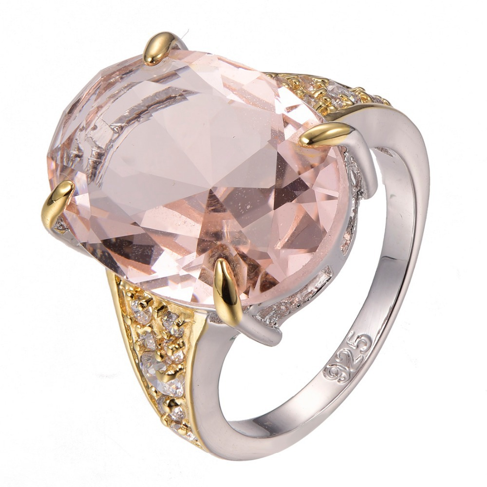 Hot Sale Huge Morganite 925 sterling silver Fashion Design Ring Size 6 7 8 9 10 F1295