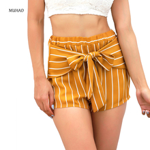 MUHAO high waist Joker fashion biker shorts bow-knot Straight Thin section belt bandage stripe sexy Leisure