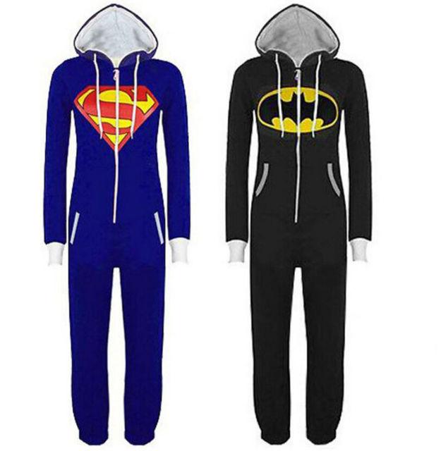 Adulto Unisex Onesie Pijamas Batman Superman Traje Cosplay de la ropa de Noche de Halloween
