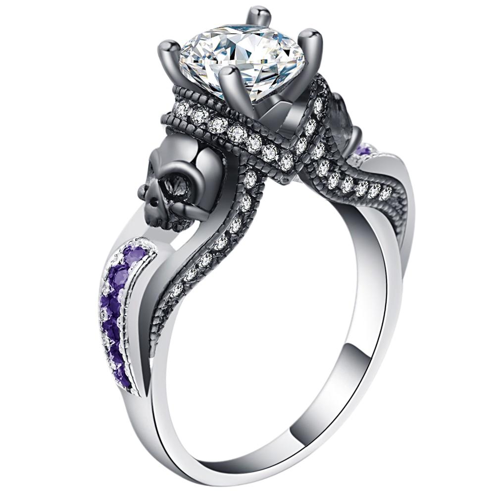Party Ring Birthstone Skull Ring