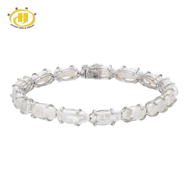 """Hutang Natural Branco de Água Doce da Pérola 925 Prata Esterlina Sólida Ligação Pulseira Fine Jewelry 7.5"""""""
