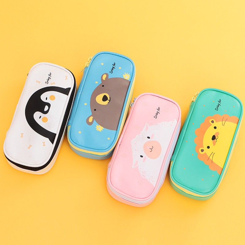 1pcs Cute animals Large capacity pencil case High grade waterproof PU leather pencil font b bag
