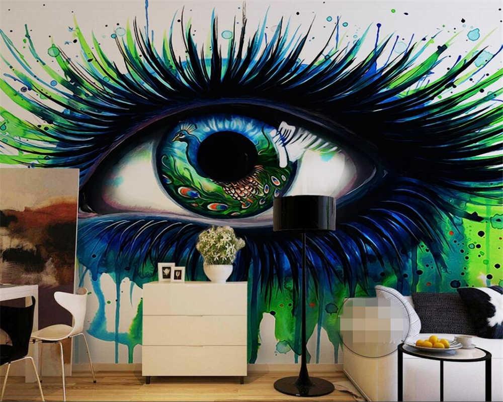 Beibehang 3D photo wallpaper murals painted blue eye eyelash abstract painting decorative backdrop wallpaper papier peint.jpg q50