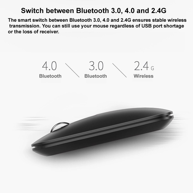 M550 Multi-mode Wireless Mouse Switch between Bluetooth 3.0/4.0 and 2.4G for Three Devices Connection