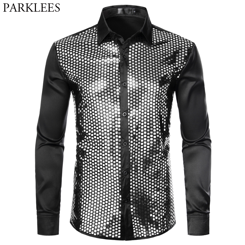 Mens Sequin Glitter Silk Satin Black Dress Shirt 2019 New Long Sleeve Button Down Disco Stage Prom Shirt Nightclub Party Costume