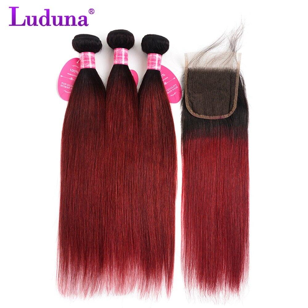 Luduna Ombre Brazilian Straight Hair 3 Bundles With Closure 1B 99J Ombre Human Hair Bundles With Closure Non Remy Hair Extension
