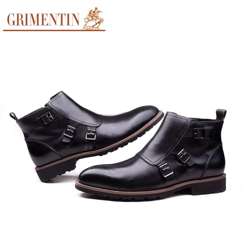grimentin brand luxury zip mens ankle boots genuine