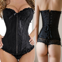Black Fashion Women Zipper Bustier Top Corset Sexy Boned Waist Trainer Corset Overbust Brocade Plus Size S-6XL Waspie TYQ