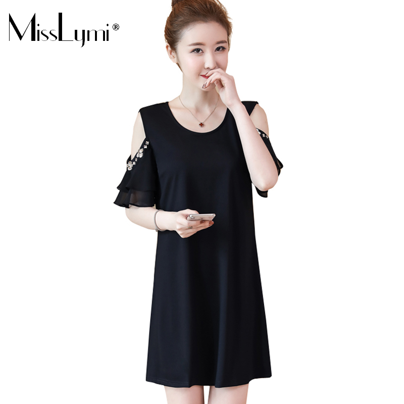 MissLymi L-5XL Plus Size Women Off Shoulder Dress Black 2018 Summer Dess Casual Loose O-neck Short Sleeve Chiffon Beading Dress