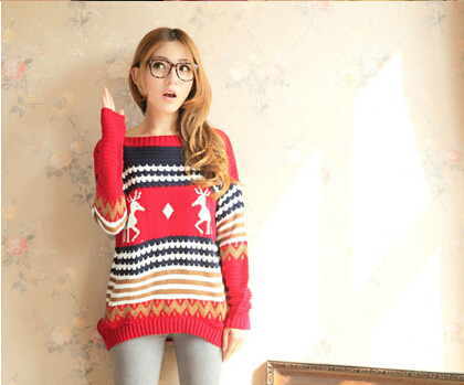 Free shipping high quality O- collar pullover animal reindeer sleeve long Knitted Winter Warm Christmas sweater Women wholesale