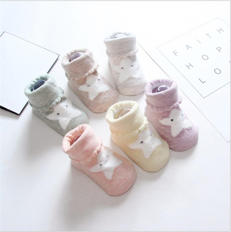 Warm Baby Socks cartoon star design toddler Boy Girl short Socks Anti-slip baby floor socks cotton Kids Leg Warmers 0-24m