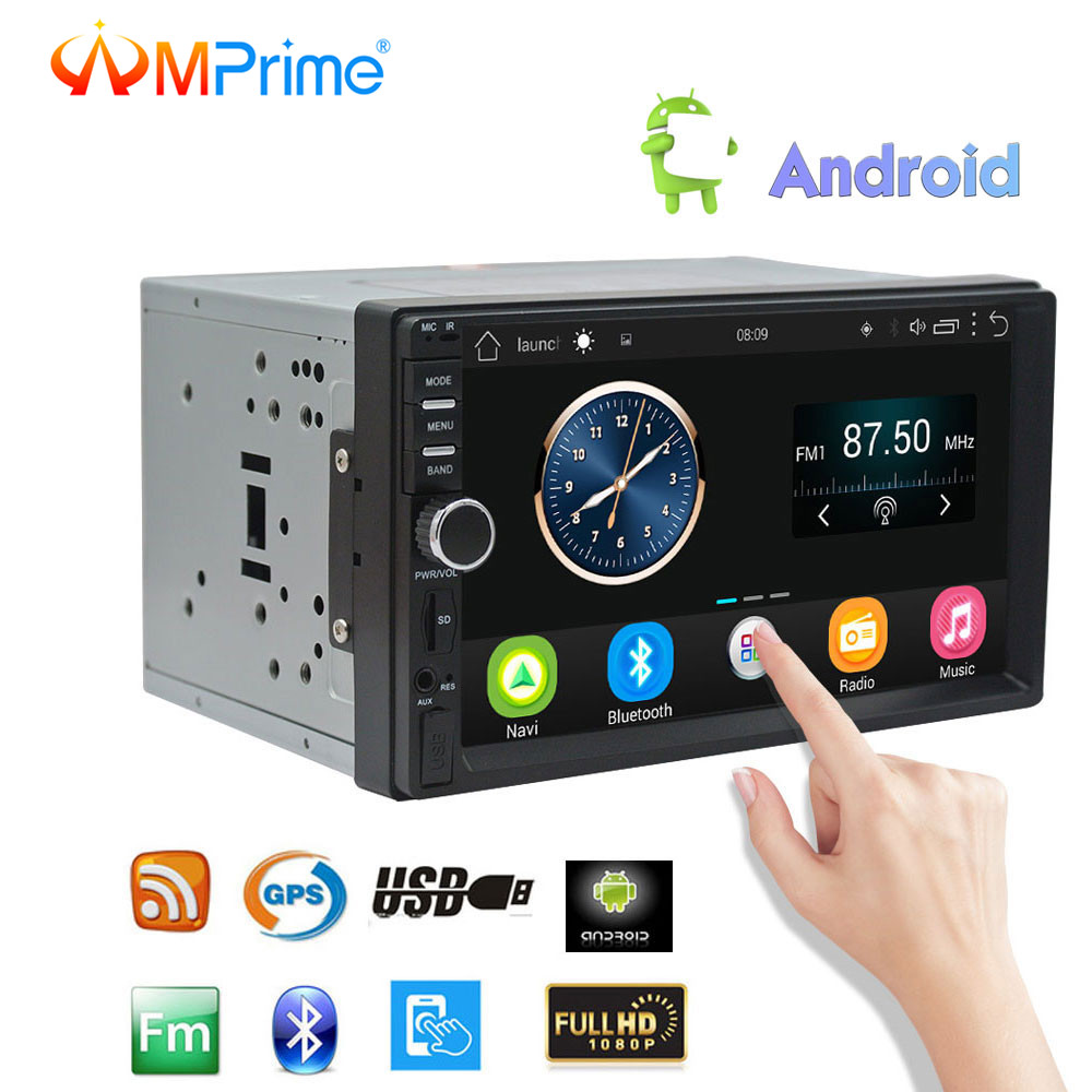 AMprime Android 6.0 Car Radio Stereo GPS Navigation Bluetooth 2 Din Touch Screen Car Audio Player Autoradio USB SD FM Player podofo 7 android car radio stereo gps navigation bluetooth usb sd 2 din touch car multimedia player audio player autoradio