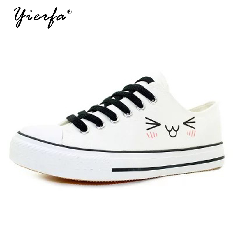 Korean version of the cute smile printed canvas shoes women couple shoes casual shoes the smile stealers